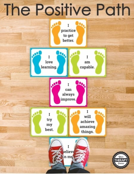 Combine positive affirmations for kids and proprioceptive input with The Positive Path.  Children can jump along the path or do wall push-ups while they read words of encouragement.