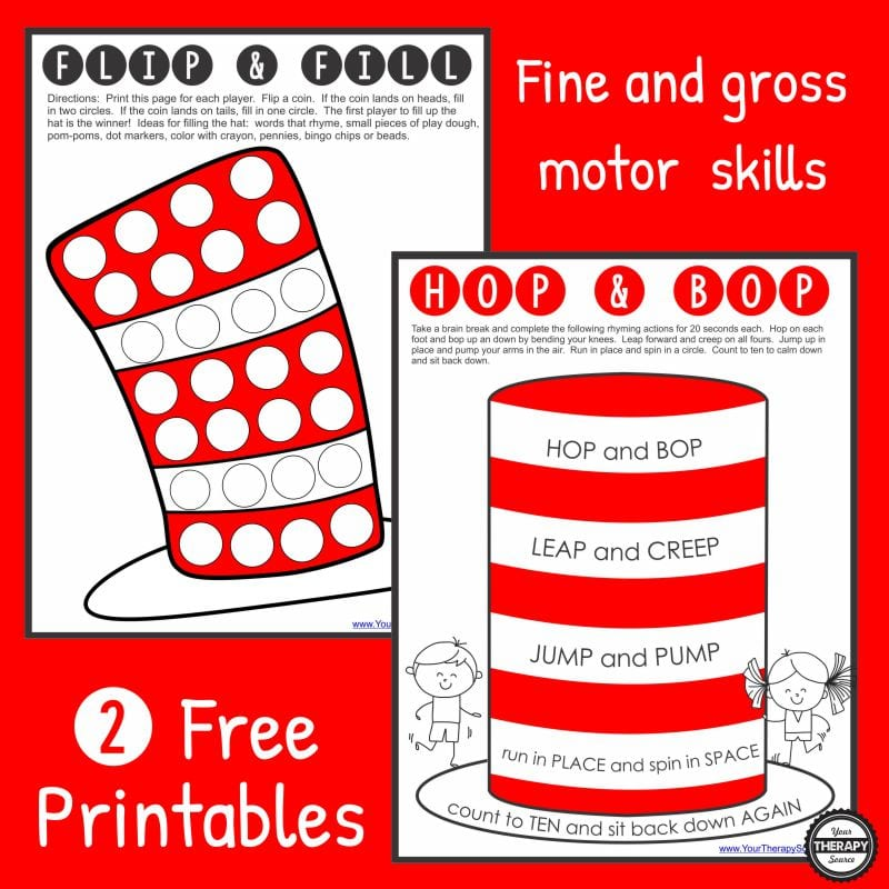 Here are two free Dr. Seuss printables to practice fine motor skills and gross motor skills. Celebrate his birthday while you also work on hand strengthening and physical activity.