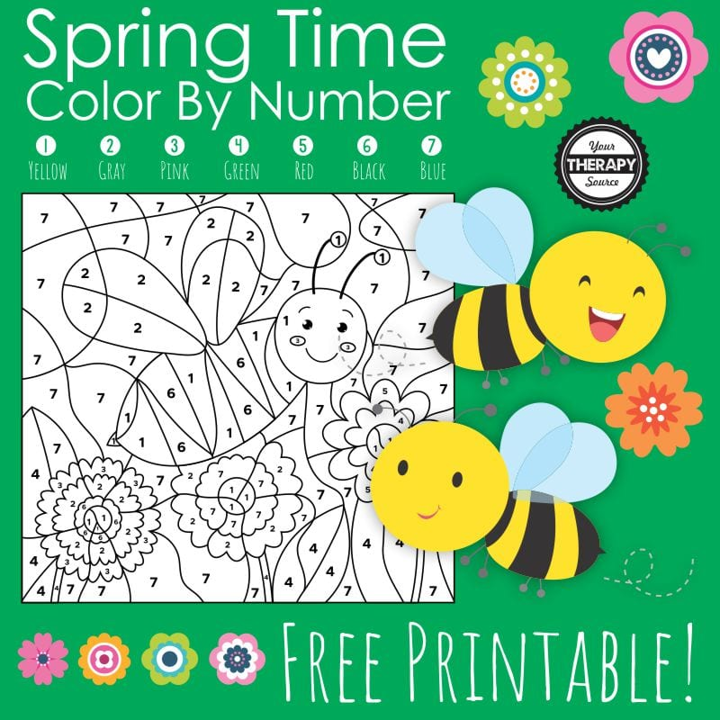 Are you in search of a Spring color by number to entertain and engage the children?  Then look no further, this FREE spring color by number is just what you are looking for.