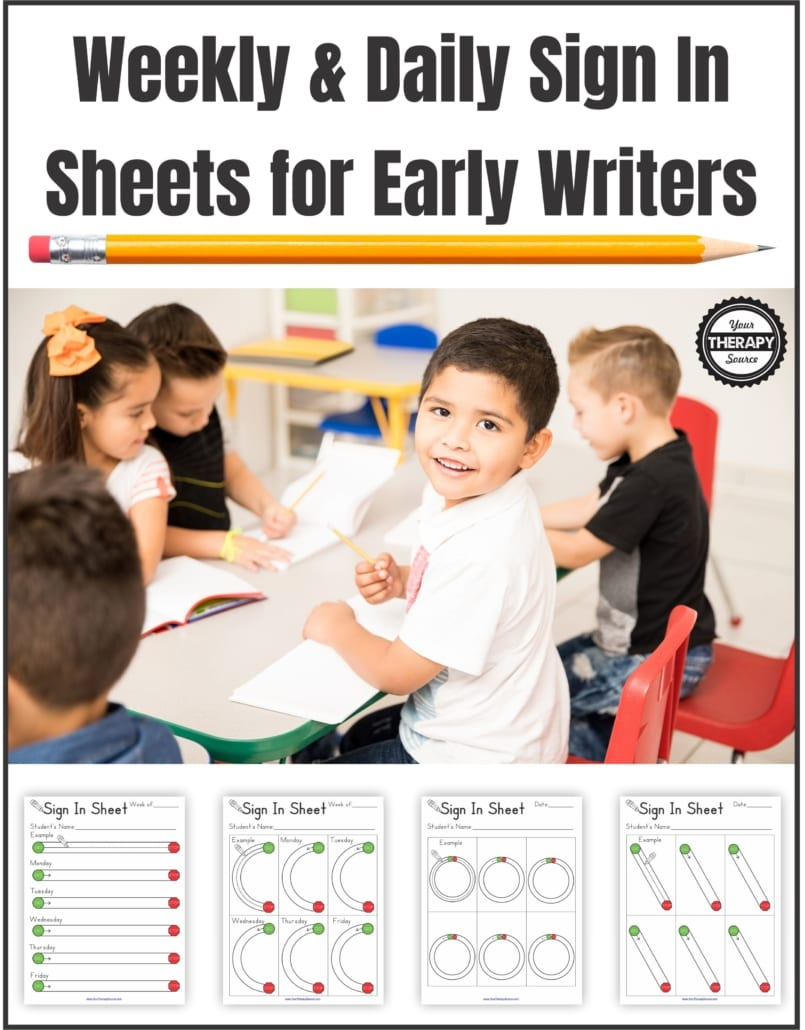 The Weekly and Daily Sign In Sheets for Early Writers solves these problems by having students sign in by completing developmentally appropriate pre-writing skills.