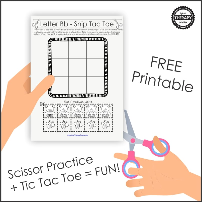 Are you in search of a twist on tic tac toe? Trust me, Tic Tac Toe is a great game when you need to practice turn taking, handwriting skills, visual spatial skills, and logic. But after awhile it can get repetitive. This free printable is a twist on tic tac toe that includes coloring and scissor skills practice!