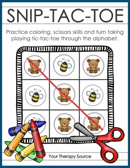 Snip Tac Toe – Color and Cutting Game digital download includes 26 tic tac toe games from A to Z to color and cut. Students can practice fine motor skills, visual motor integration, and scissor skills all while having FUN! It includes three levels of difficulty.