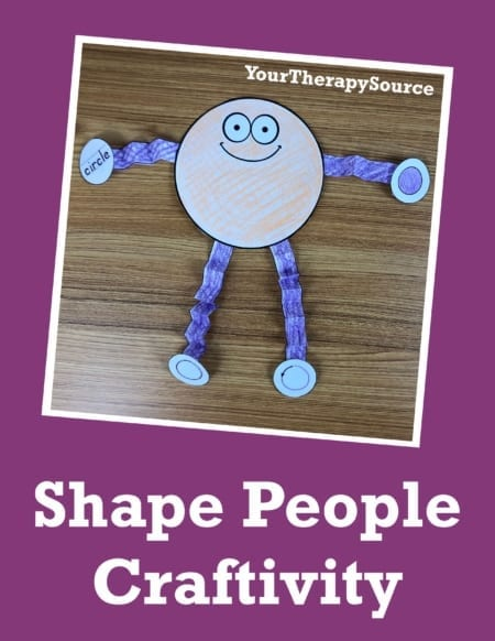 """The Shape, Alphabet, and Number Craftivity Packetsincludes NO PREP, activities to color, cut, fold, and glue to create different """"people"""". There are 10 shapes, 26 capital letters, and numbers 1-9."""