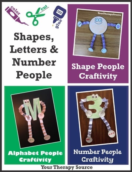 "The Shape, Alphabet, and Number Craftivity Packets includes NO PREP, activities to color, cut, fold, and glue to create different ""people"".  There are 10 shapes, 26 capital letters, and numbers 1-9."