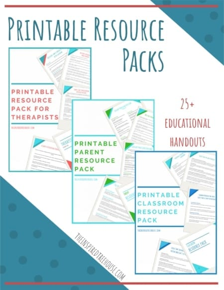 Created by Claire Heffron OT and Lauren Drobnjak PT, this printable packet includes 25+ handouts for pediatric therapists, parents, and teachers!