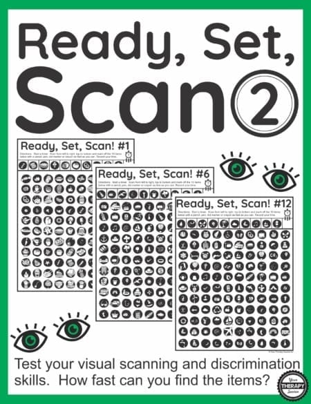 Ready, Set, Scan Level 2 is a digital download of visual scanning exercises that includes 12 visual scanning and discrimination activities.