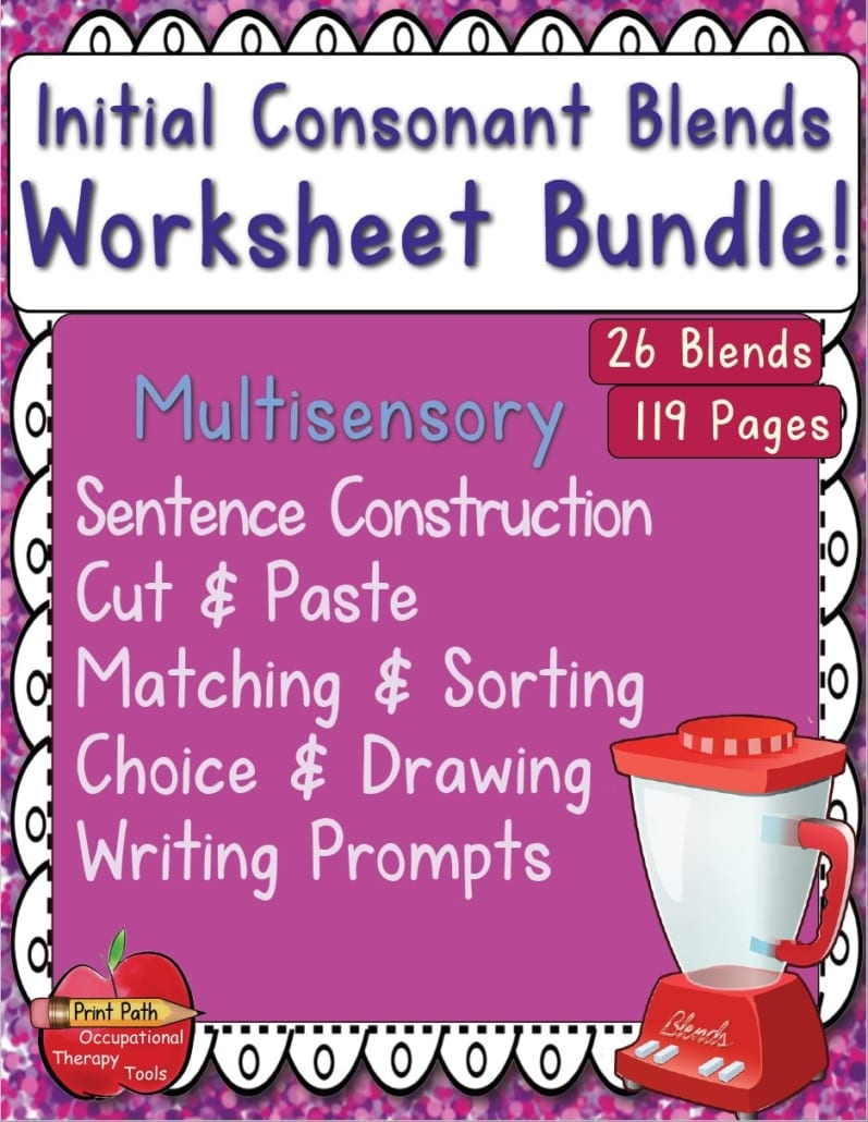 The Initial Consonant Blends - Multisensory Worksheet Package helps students work on handwriting while improving reading, spelling and phonemic awareness.