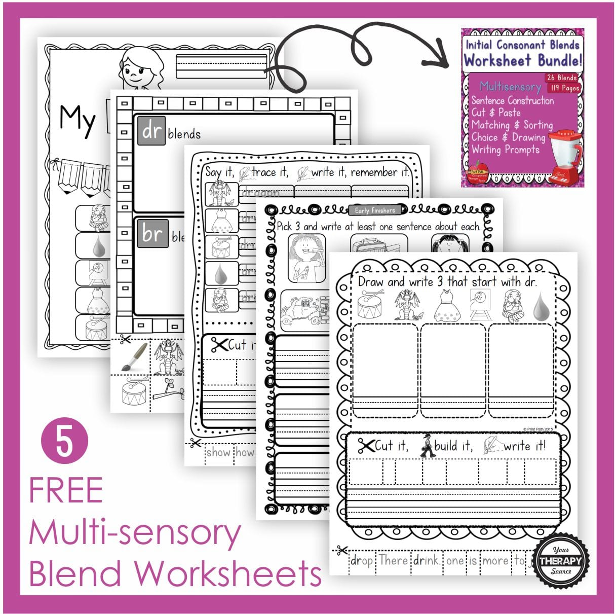 Students can practice scissor skills, pasting, drawing, handwriting, and sentence structure to learn new blends with these 5 free blends worksheets.