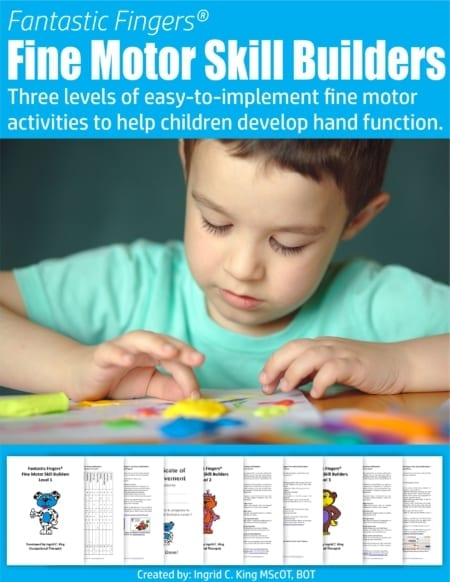 Busy OTs, teachers, and parents will love these Fine Motor Skill Builders to develop hand function in children.  Three levels of activities ready to go!