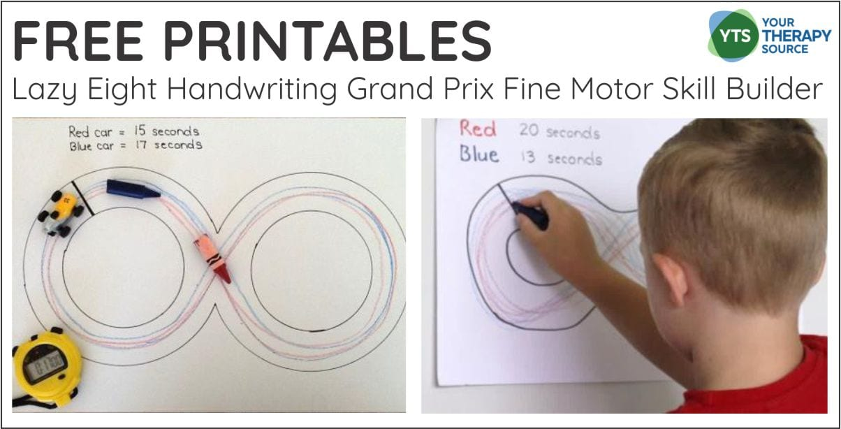 If you want to practice pre-writing skills, crossing midline, and fine motor skills, check out this FREE printable packet - Lazy Eight Handwriting Grand Prix Fine Motor Skill Builder.  You can download it for free at the end of this post.