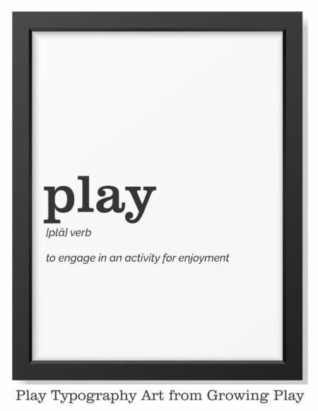 Play Typography Art digital download includes 16 words related to play and the definition for simple decor that makes a statement.  Play is powerful as is this typography art.