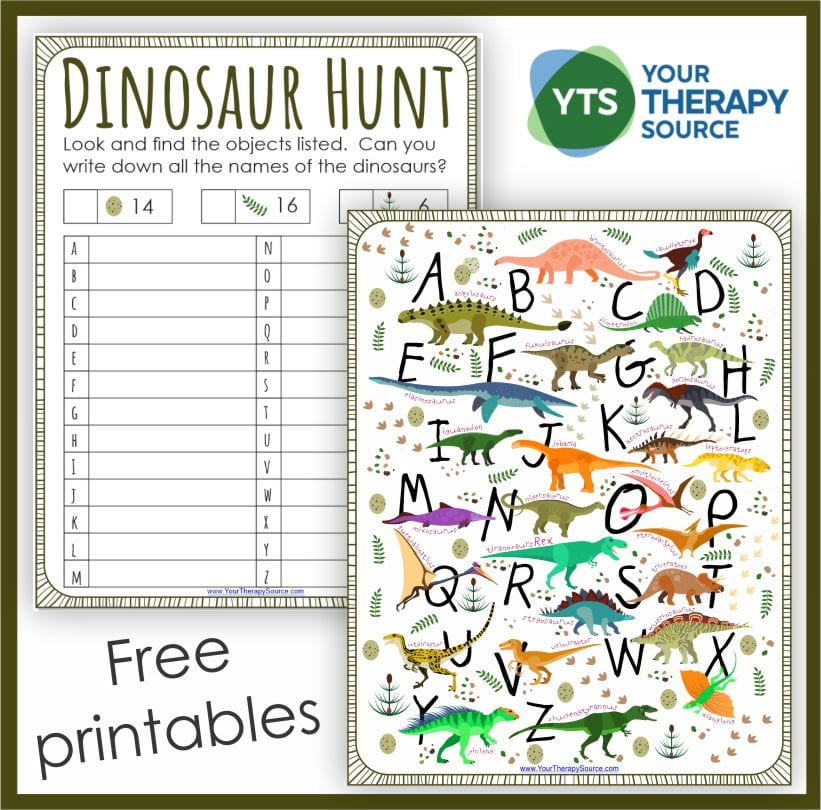 If you work with children who like dinosaurs, they are going to LOVE these free dinosaur printables. You can download them at the bottom of the post.