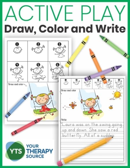 The Draw, Color, and Write - Active Play packet includes 10 step by step directed drawings to help children learn how to draw simple cartoon figures and provide inspiration for writing.