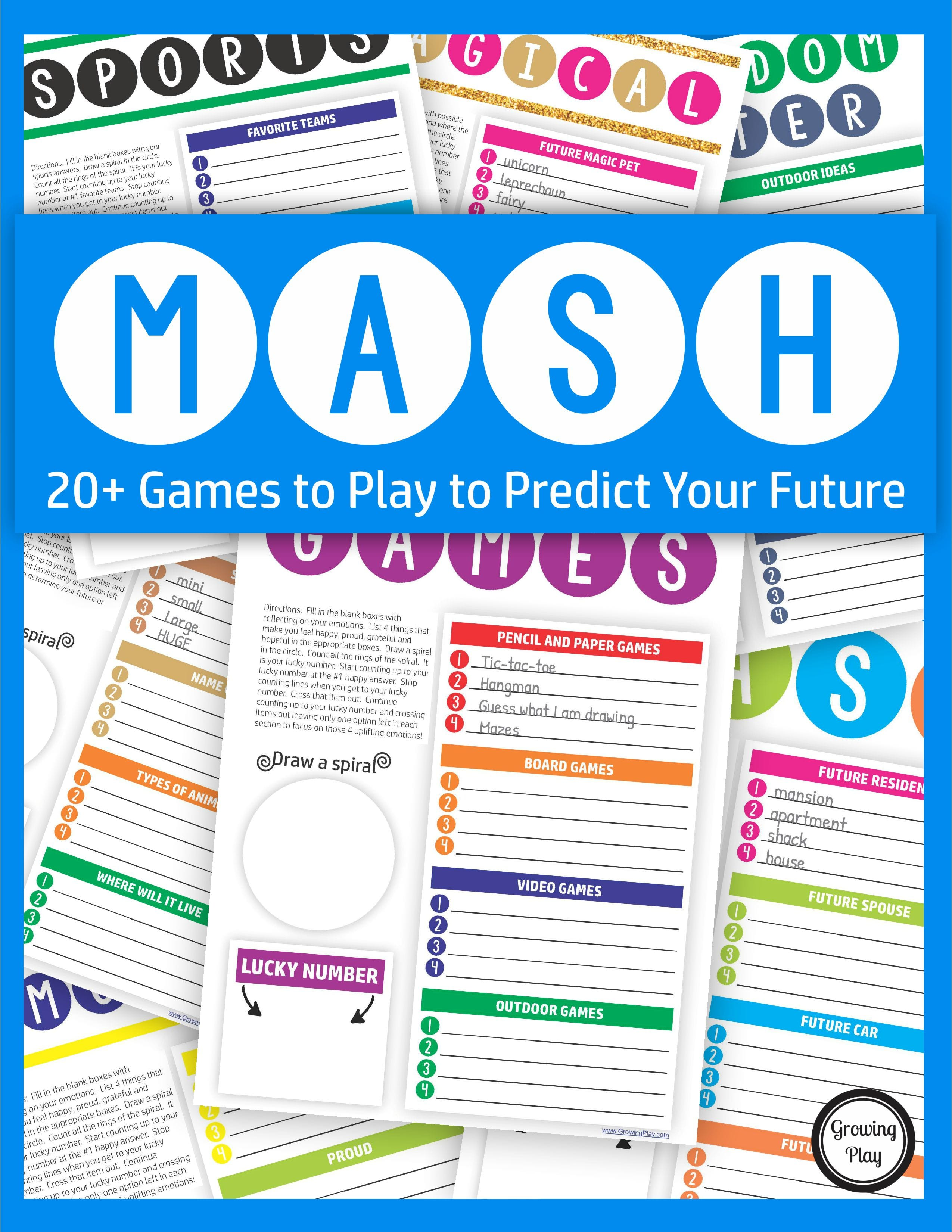 Includes fun handwriting worksheets with 20+ MASH Games plus handwriting templates. Be silly with these creative, boredom busting games!