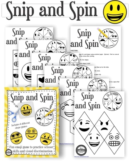 The Snip and Spin - Scissor Skills Printables packet includes 6 fun emoji games to help children practice scissor skills, fine motor skills, and visual discrimination skills.