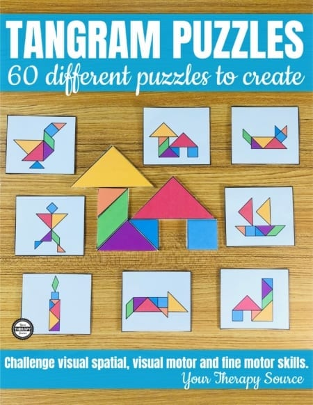 Are you looking for a visual-spatial, visual motor, math, and fine motor challenge?  The Tangram Printable Puzzles includes 60 different puzzles to print and solve.  Perfect for math, early finishers, fine motor stations, and indoor recess.