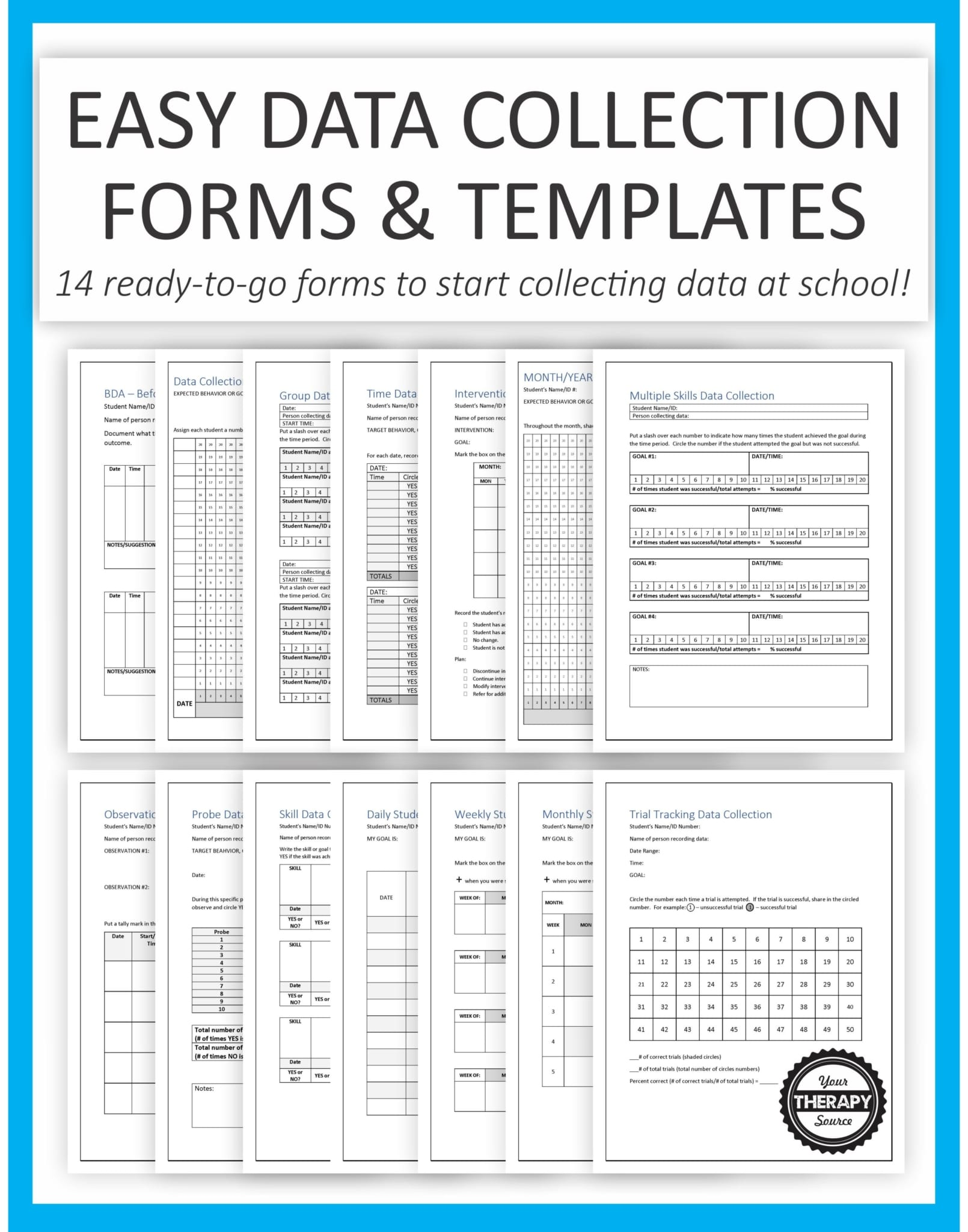 It is a picture of Stupendous Printable Data Sheets Special Education