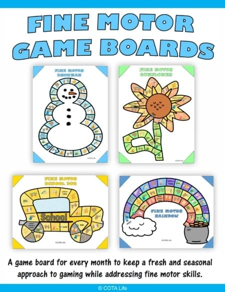 Fine Motor Board Games digital download includes 12 no-prep games to print and play to encourage fine motor skill development throughout the year.