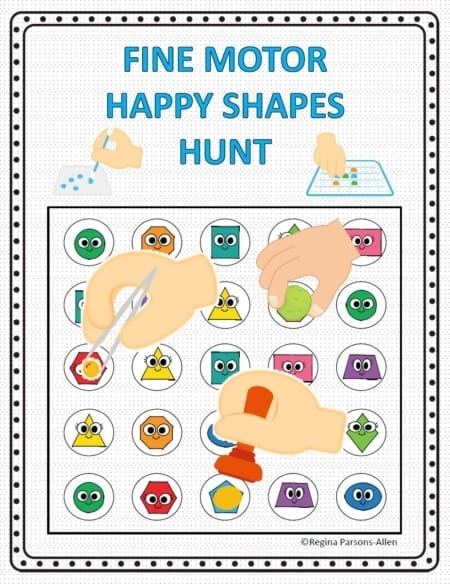 This Shape Hunt - Fine Motor Activity digital packet includes 10 hunt, find and mark puzzles in color and black and white versions.