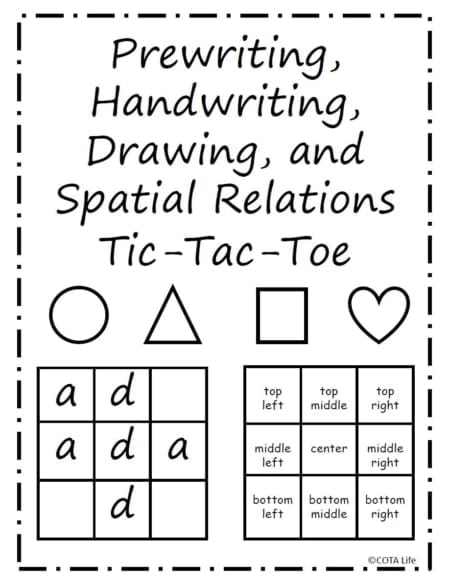 The Tic Tac Toe Spatial Relations Game is a digital packet that steps up the traditional game providing templates to practice handwriting and spatial relations while playing one of the most classic games of all time!