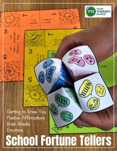 If you are looking for paper fortune teller ideas for school, this digital packet includes 4 templates to get to know your students, encourage positive affirmations, teach self-regulation, and take brain breaks!