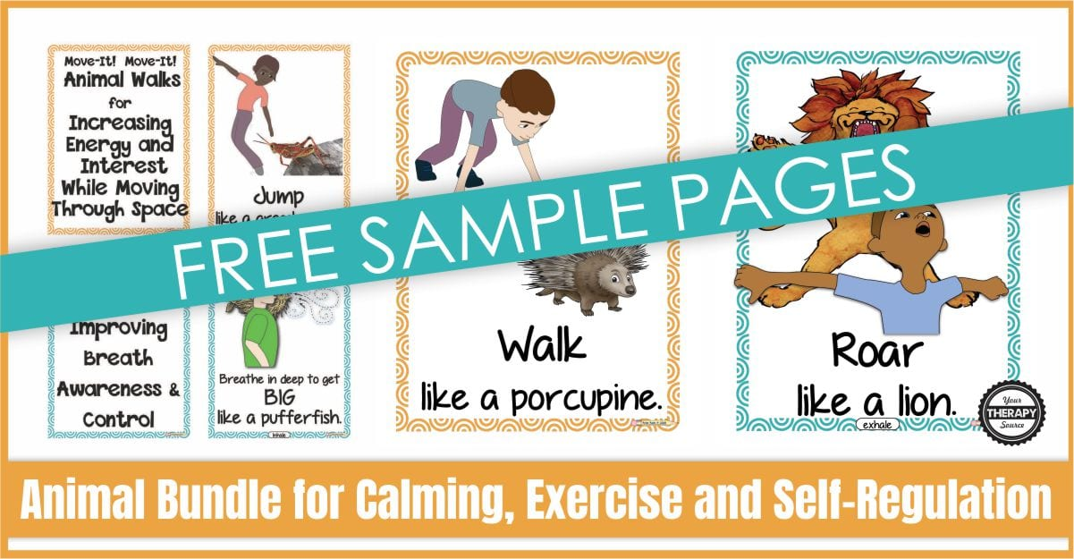 Animal Exercises For Kids - Free Printables - Your Therapy Source
