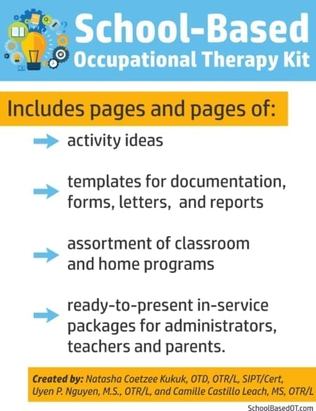 Whether you are a seasoned school-based therapist or brand new, this School-Based Occupational Therapy Kit will blow your mind!  This collection includes pages and pages of information to help your students succeed.
