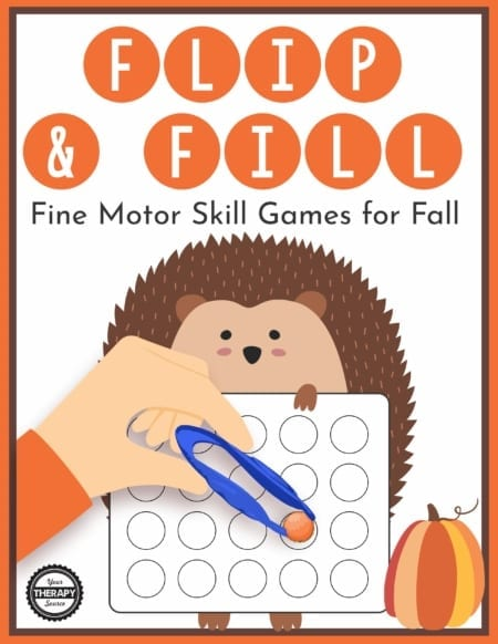 The Fall Fine Motor Activities - Flip and Fill Gamedigital download includes 10 different fall-themed game boards to practice fine motor skills and encourage hand strengthening.