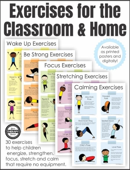 Exercises for the Classroom and Home is a set of 5 posters to encourage simple fitness activities for students.