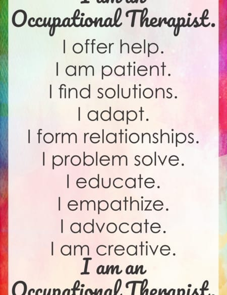 I am an Occupational Therapist poster created by Your Therapy Source