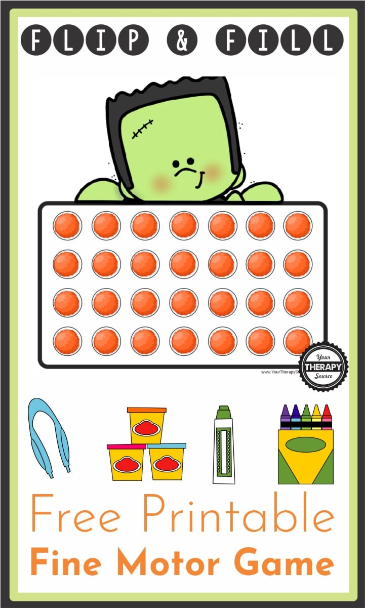 This Halloween themed fine motor game requires fine motor skills to fill in the 28 circles that Frankenstein is holding and you can download it for FREE.
