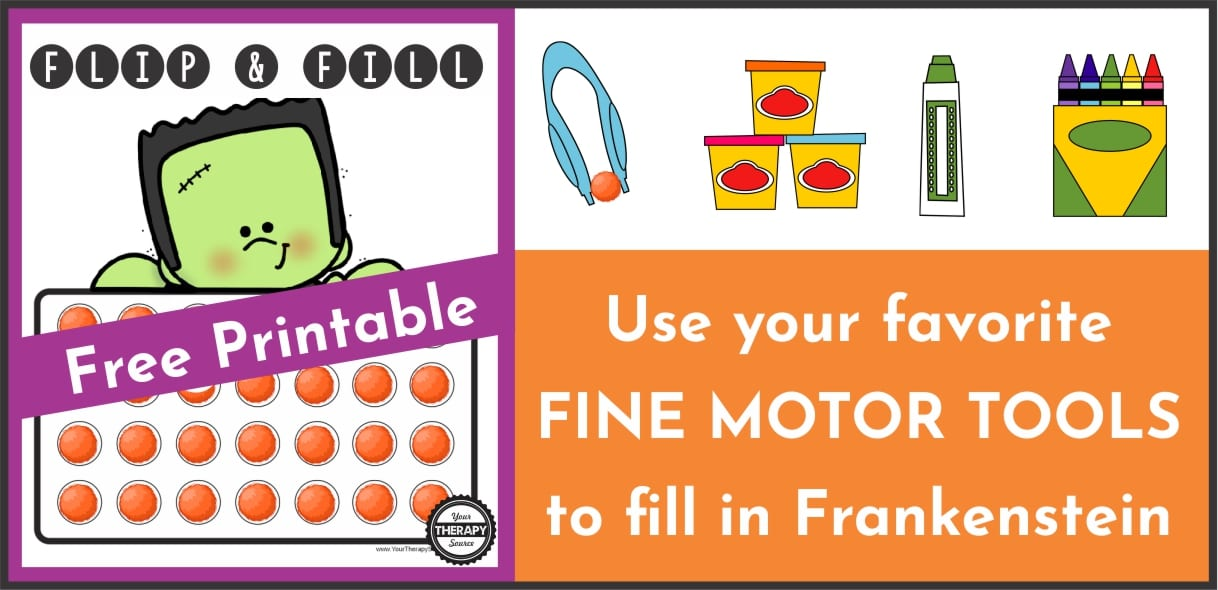 This Halloween themed fine motor game requires fine motor skills to fill in the 28 circles that Frankenstein is holding and you can download it for FREE