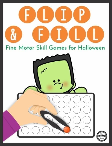 The Halloween Fine Motor Activities – Flip and Fill Game digital download includes 12 different Halloween-themed game boards to practice fine motor skills and encourage hand strengthening.