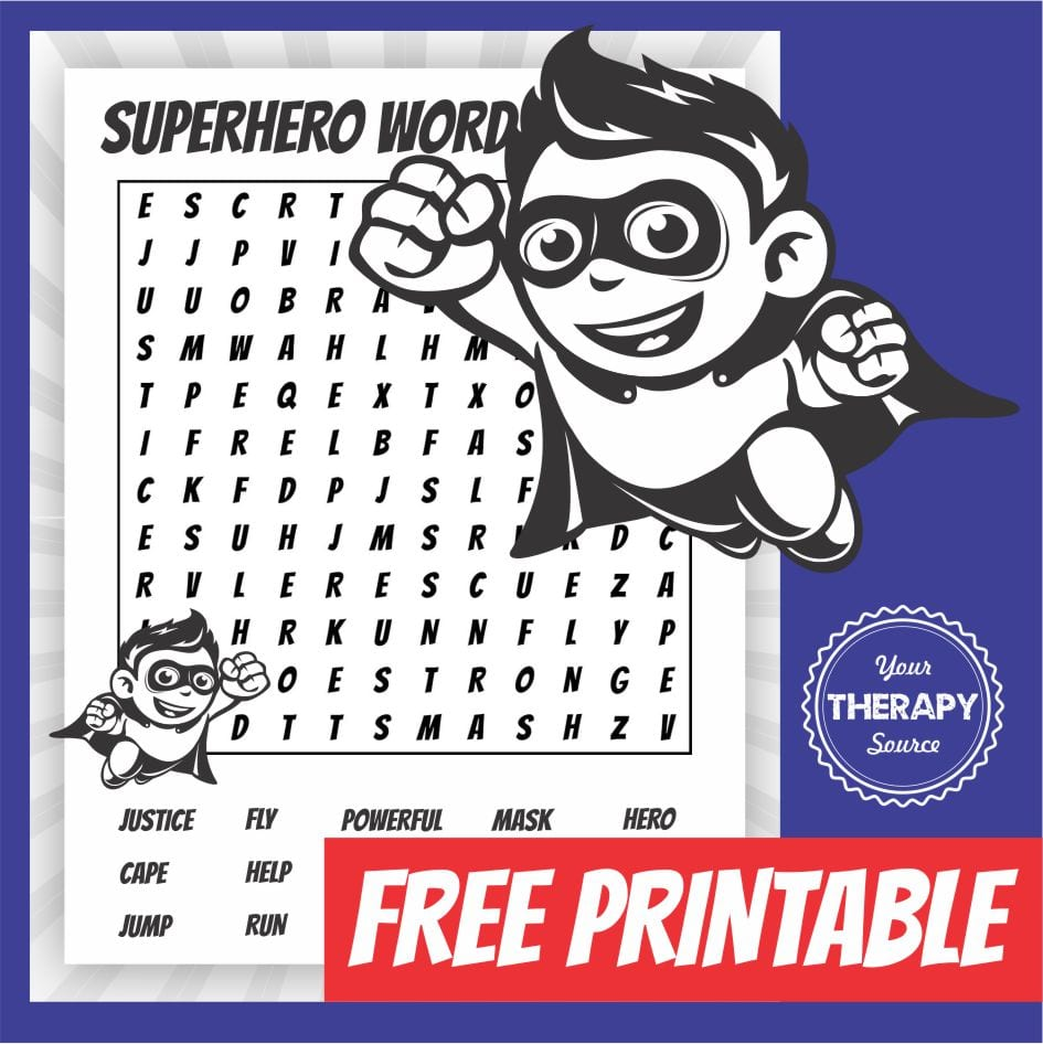 If you have a super hero theme at your school, download this free super hero word search. Get more superhero resources from YourTherapySource.