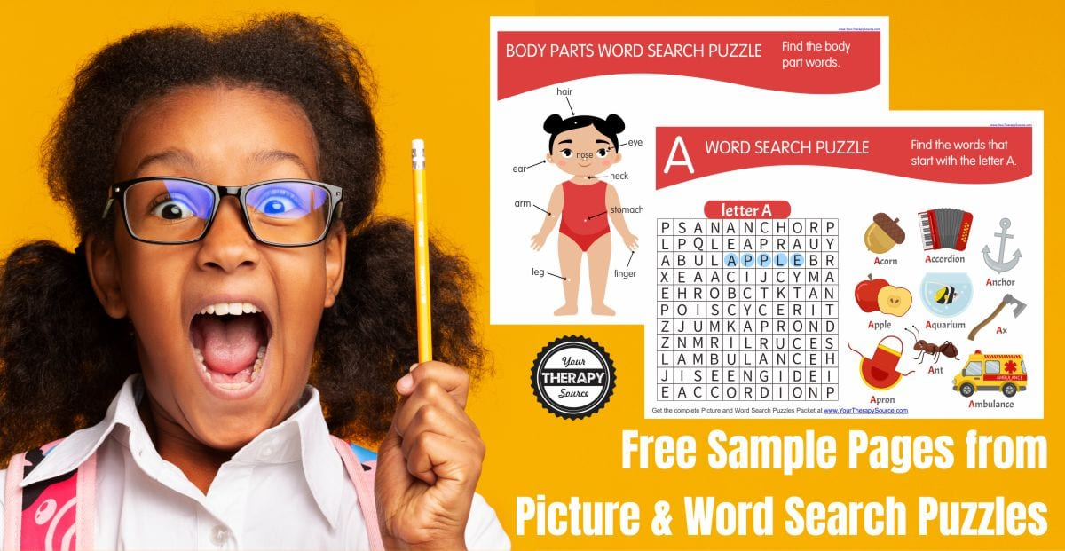 Download the free body part word search worksheet and the bonus Letter A word search at the end of this blog post.