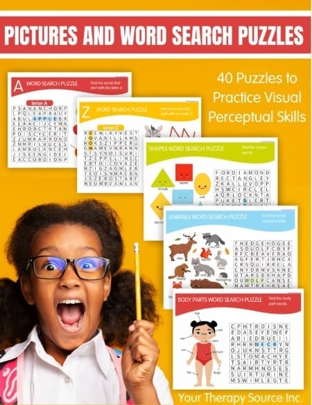 If you are looking for easy word search puzzles for kids (that even include pictures), check out the Picture and Word Search Puzzle Packet.Children will practice visual perceptual skills while learning how to read at the same time!