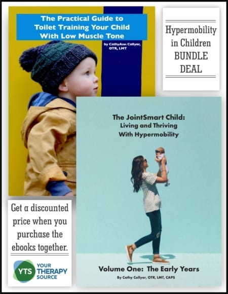 Get CathyAnn Collyer, OTR, pediatric occupational therapist's, books on hypermobility and low tone children bundled together.