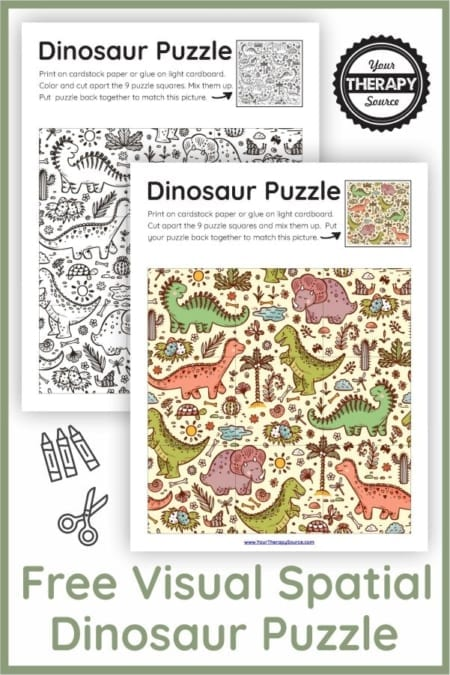 Do you know a dinosaur loving kid? Check out this FREE dinosaur puzzles printable to practice visual spatial skills.