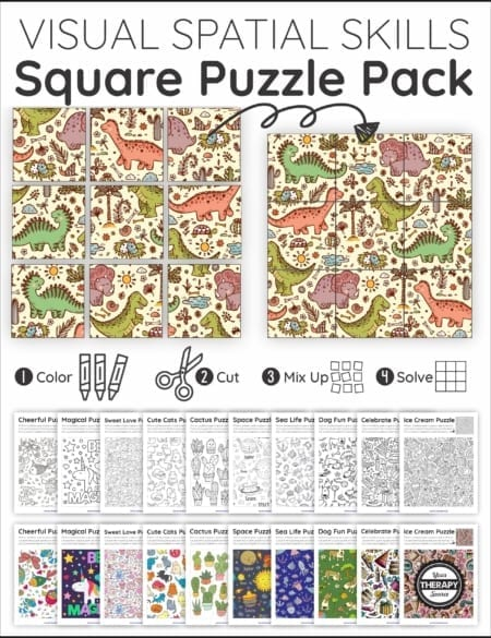 The Visual Spatial Puzzles - Square Puzzle Pack includes 11 puzzles to challenge the ability to visually perceive two or more objects in relation to each other.
