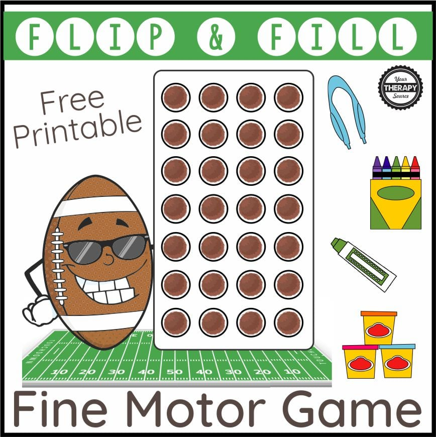 Fall is the perfect time for football fun! This football fine motor activity is a free printable to play a fun game that will challenge fine motor skills, finger strengthening, and eye hand coordination.