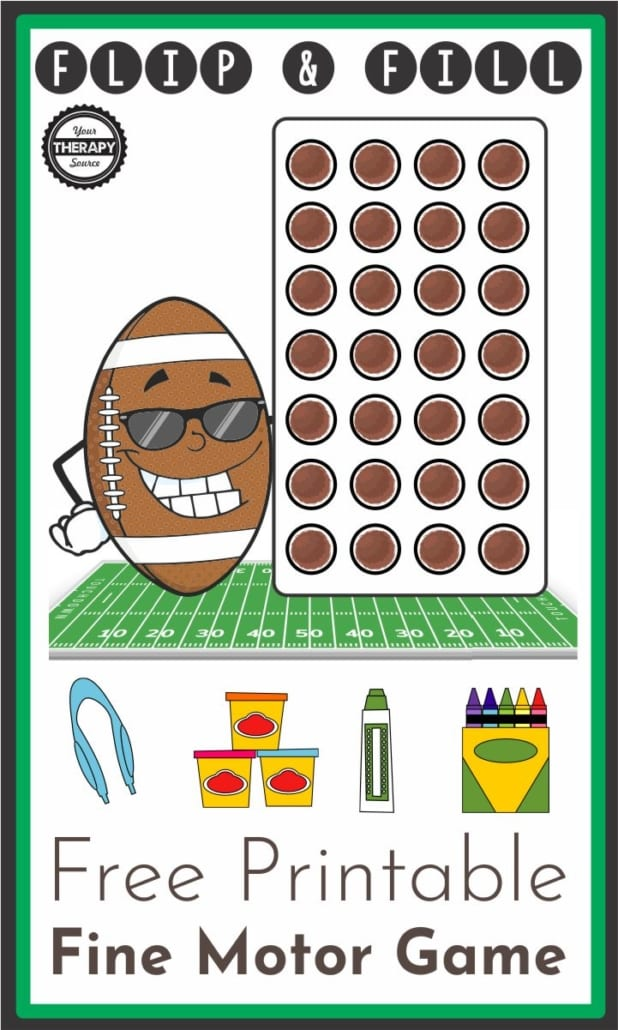 Football Fine Motor Activity - Free Printable - Your Therapy Source