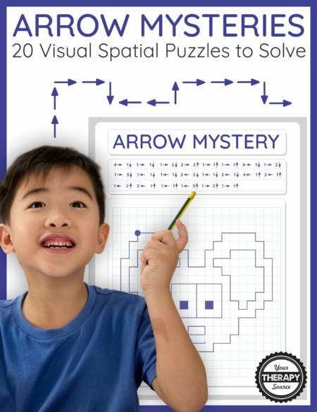 The Arrow Mysteries digital download includes 20 math art puzzles to challenge visual spatial and visual motor skills. Kids love the challenge!