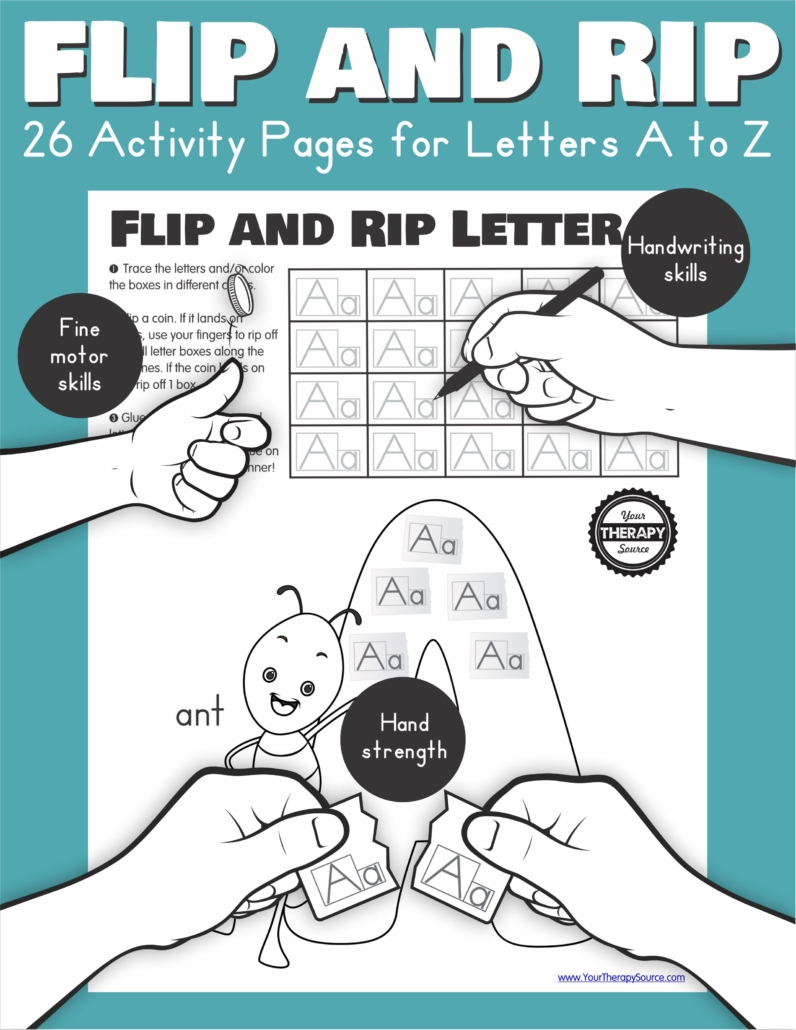 The Flip and Rip Letters A to Z includes 26 activity pages to encourage handwriting practice, fine motor skills, and hand strengthening.