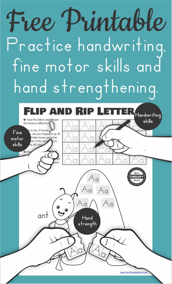 This FREE tear and paste worksheet on the Letter Aa also includes fine motor and handwriting practice - created by Your Therapy Source