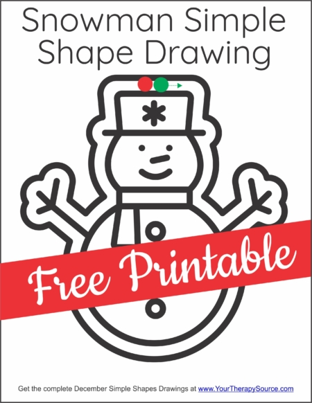 The December Simple Shape Drawings digital download includes 25 simple pictures to draw around the outline. Created by Your Therapy Source