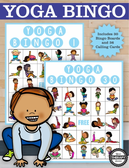 This Yoga Bingo digital download includes everything you need to play this fun filled movement game from Your Therapy Source.