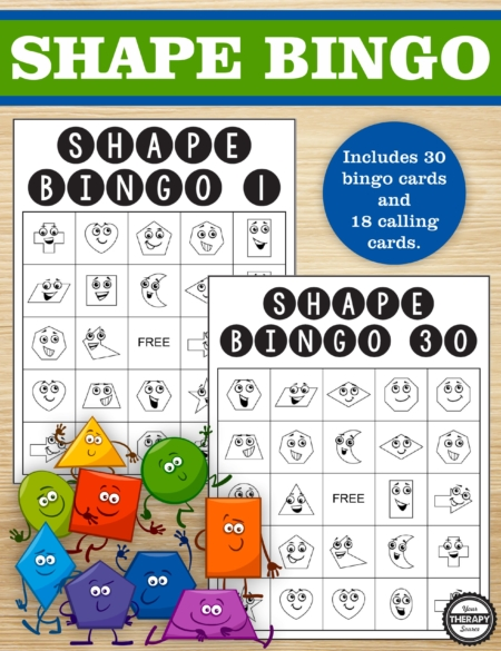 This Shape Bingo printable version is super fun to learn 2D shapes for early geometry skills. Includes 30 bingo boards and 18 calling cards. No prep needed!
