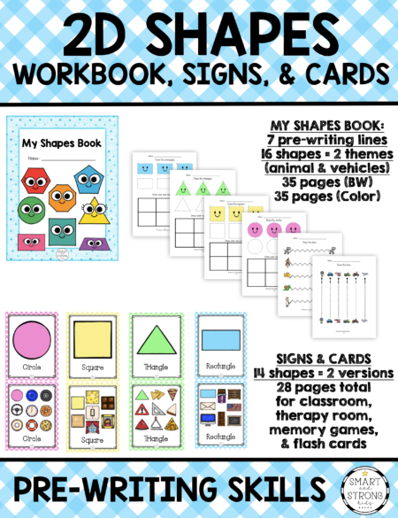 The 2D Shapes Worksheets PDF, Signs, and Cards digital download includes 16 shape signs and cards, 7 pre-writing line practice pages and 16 shapes to trace and copy.