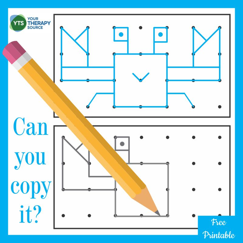 This free visual spatial printable is a visual motor exercise to try to copy the crab. The dot to dot diagram challenges children to learn whether to draw lines up, down, left, or right to create the picture.