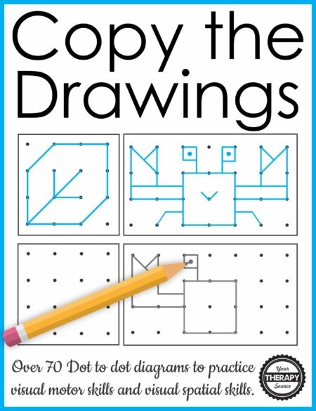This packet of Spatial Awareness Puzzles - Copy the Drawings includes over 70 dot to dot diagrams to practice visual motor and visual spatial skills.